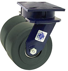 "75 Series Swivel Dual Caster - 8"" x 2"" Nylon Wheels - 6,000 lb. Cap."