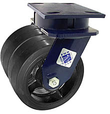 "75 Series Swivel Dual Caster with 8"" x 2"" Rubber on Iron Wheel and 1,000 lb. Capacity"
