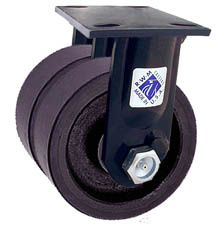 "75 Series Rigid Dual Caster with 8"" x 2"" Urethane on Iron Wheel and 3,000 lb. Capacity"