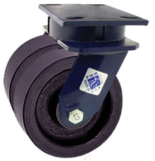 "75 Series Swivel Dual Caster with 5"" x 2"" Urethane on Iron Wheel and 2,100 lb. Capacity"