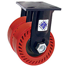 "75 Series Rigid Dual Caster - 8"" x 2"" Omega Wheels - 2,400 lb. Cap."