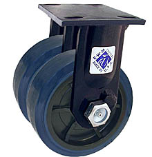 "75 Series Rigid Dual Caster - 5"" x 2"" Urethane on Plastic Wheels - 1,500 lb. Cap."