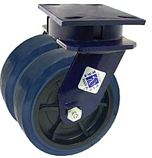 "75 Series Swivel Dual Caster - 5"" x 2"" Urethane on Plastic Wheels - 1,500 lb. Cap."
