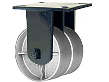 "76 Series Rigid Dual Caster - 6"" x 2-1/2"" Cast Iron Wheels - Tapered Bearings - 3,600 lb. Cap."