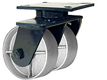 "76 Series Swivel Dual Caster - 12"" x 3"" Cast Iron Wheels - Tapered Bearings - 7,000 lb. Cap."
