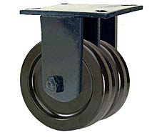 "76 Series Rigid Dual Caster - 8"" x 3"" Phenolic Wheels - 5,000 lb. Cap."