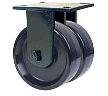 "76 Series Rigid Dual Caster with 8"" x 3"" Solid Urethane Wheel and 5,000 lb. Capacity"