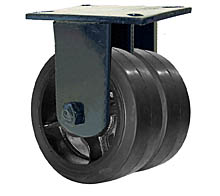 "76 Series Rigid Dual Caster - 8"" x 3"" Rubber on Iron Wheels - Straight Bearings - 3,360 lb. Cap."