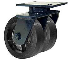 "76 Series Swivel Dual Caster - 12"" x 2-1/2"" Rubber on Iron Wheels - Straight Bearings - 1,800 lb. Cap."