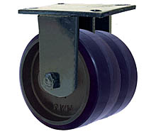 "76 Series Rigid Dual Caster with 6"" x 2-1/2"" Urethane on Iron Wheel and 3,240 lb. Capacity"