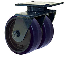 "76 Series Swivel Dual Caster with 8"" x 3"" Urethane on Iron Wheel and 5,000 lb. Capacity"