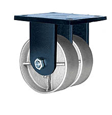 "85 Series Rigid Dual Caster - 8"" x 3"" Cast Iron Wheels - Tapered Bearings - 6,000 lb. Cap."