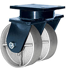 "85 Series Swivel Dual Caster - 8"" x 3"" Cast Iron Wheels - Tapered Bearings - 6,000 lb. Cap."