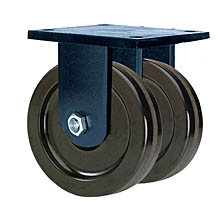 "85 Series Rigid Dual Caster - 8"" x 3"" Phenolic Wheels - 5,000 lb. Cap."