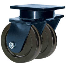"85 Series Swivel Dual Caster with 6"" x 3"" Phenolic Wheel and 4,000 lb. Capacity"
