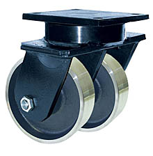 "85 Series Swivel Dual Caster with 8"" x 4"" Forged Steel Wheel and 10,000 lb. Capacity"