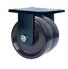 "85 Series Rigid Dual Caster - 8"" x 3"" Solid Urethane Wheels - 5,000 lb. Cap."