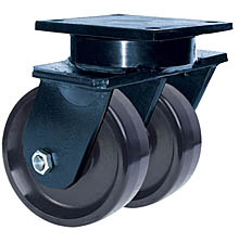 "85 Series Swivel Dual Caster - 10"" x 3"" Solid Urethane Wheels - 6,000 lb. Cap."