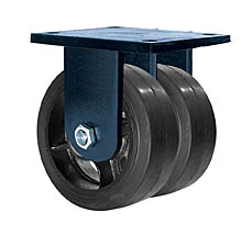 "85 Series Rigid Dual Caster - 10"" x 3"" Rubber on Iron Wheels - Tapered Bearings - 2,000 lb. Cap."
