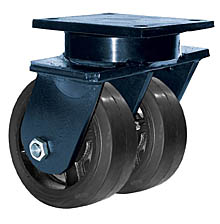 "85 Series Swivel Dual Caster with 8"" x 3"" Rubber on Iron Wheel and 1,680 lb. Capacity"