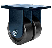"85 Series Rigid Dual Caster with 8"" x 4"" Urethane on Iron Wheel and 7,000 lb. Capacity"