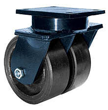 "85 Series Swivel Dual Caster - 8"" x 3"" Urethane on Iron Wheels - Tapered Bearings - 5,000 lb. Cap."