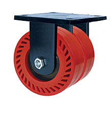 "85 Series Rigid Dual Caster - 8"" x 3"" Omega Wheels - Straight Bearings - 3,200 lb. Cap."