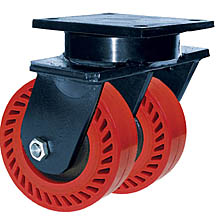 "85 Series Swivel Dual Caster - 8"" x 3"" Omega Wheels - Tapered Bearings - 3,200 lb. Cap."