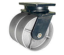 "95 Series Swivel Dual Caster - 8"" x 4"" Cast Iron Wheels - 8,000 lb. Cap."