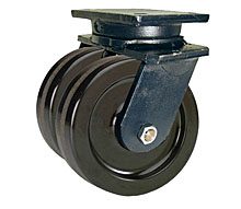 "95 Series Swivel Dual Caster with 8"" x 3"" Phenolic Wheel and 5,000 lb. Capacity"