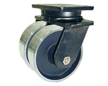"95 Series Swivel Dual Caster with 10"" x 4"" Forged Steel Wheel and 10,000 lb. Capacity"