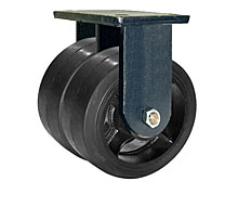"95 Series Rigid Dual Caster - 8"" x 3"" Rubber on Iron Wheels - 3,360 lb. Cap."