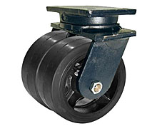 "95 Series Swivel Dual Caster with 10"" x 3"" Rubber on Iron Wheel and 2,000 lb. Capacity"