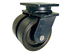"95 Series Swivel Dual Caster with 8"" x 4"" Urethane on Iron Wheel and 7,000 lb. Capacity"