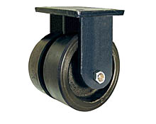 "95 Series Rigid Dual Caster with 8"" x 3"" Urethane on Iron Wheel and 5,000 lb. Capacity"