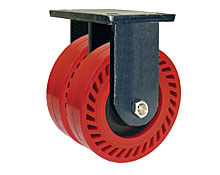 "95 Series Rigid Dual Caster - 10"" x 3"" Omega Wheels - 4,000 lb. Cap."