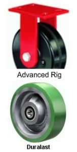 "Advanced Duty Rigid Caster - 8"" x 2-1/2"" Duralast Wheel, Roller Bearing"
