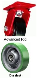 "Advanced Duty Swivel Caster - 8"" x 2-1/2"" Duralast Wheel, Tapered Bearing"