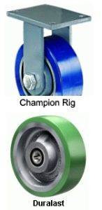 "Champion Rigid Caster - 8"" x 3"" Duralast Wheel, Tapered Bearing"