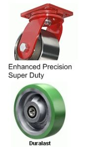 "Enhanced Precision Super Duty Rigid Caster - 10"" x 3"" Duralast Wheel, Tapered Bearing"