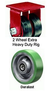 "Extra Heavy Duty Dual-Wheel Rigid Caster - 8"" x 3"" Duralast XC (70D) Wheel, Tapered Bearing"