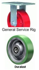"General Service Rigid Caster - 3-1/4"" x 2"" Duralast Wheel, Roller Bearing"