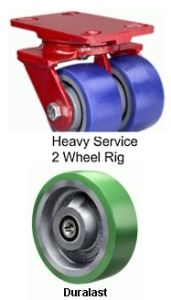 "Heavy Service Dual-Wheel Swivel Caster - 6"" x 2"" Duralast Wheel"