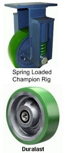"Spring Loaded Champion Rigid Caster - 8"" x 2-1/2"" Duralast Wheel, Roller Bearing"