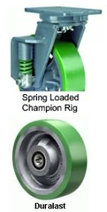 "Spring Loaded Champion Swivel Caster - 12"" x 3"" Duralast Wheel, Ball Bearing"