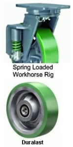 "Spring Loaded Workhorse Swivel Caster - 8"" x 2"" Duralast Wheel"