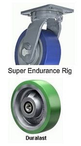 "Super Endurance Rigid Caster - 6"" x 3"" Duralast XC (70D) Wheel, Tapered Bearing"