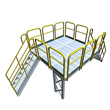 "9' x 9' Work Platform, 2 Stair Sets - 7 Steps High, 66"" Clearance"