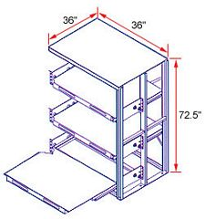 36 x 36 x 72 EZ-Glide Full Extension Roll-Out Shelving - 3 Shelves - Adder
