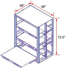 48 x 48 x 72 EZ-Glide Full Extension Roll-Out Shelving - 3 Shelves - Starter